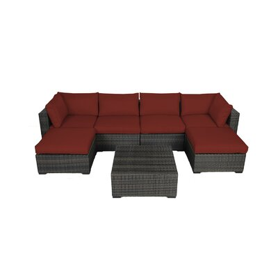 Lara 7 Piece Seating Group with Cushions Fabric: Ribbed Brick