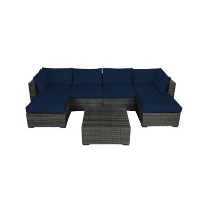 Lara 7 Piece Seating Group with Cushions Fabric: Ribbed Navy