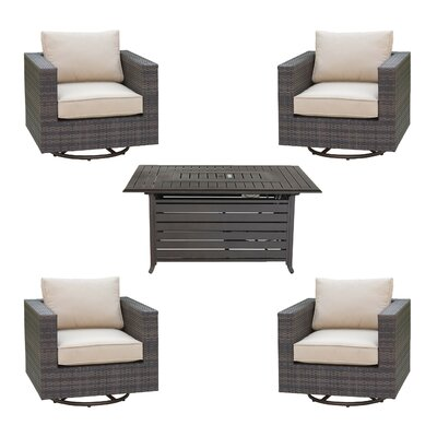 Lara 5 Piece Deep Seating Group Set with Cushion