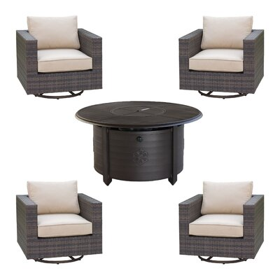Lara 5 Piece Deep Seating Group Set with fire pit Fire Pit Finish: Mahogany
