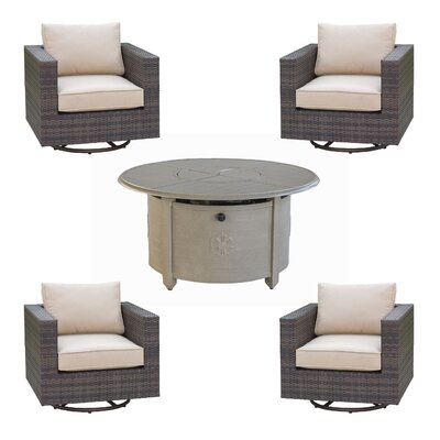 Lara 5 Piece Deep Seating Group Set with fire pit Fire Pit Finish: Sand Pebble