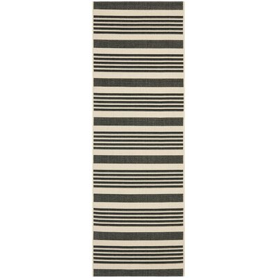 Sophina Black Indoor/Outdoor Area Rug Rug Size: Runner 24 x 67