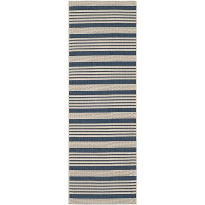 Sophina Navy/Beige Indoor/Outdoor Area Rug Rug Size: Runner 23 x 8