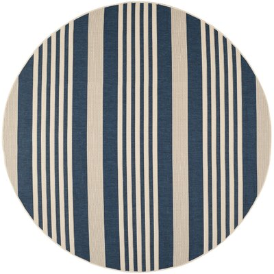 Sophina Navy/Beige Indoor/Outdoor Area Rug Rug Size: Round 710