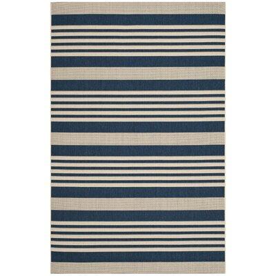 Eres Navy/Beige Indoor/Outdoor Area Rug Rug Size: 53 x 77