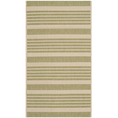 Sophina Beige/Sweet Pea Striped Contemporary Indoor/Outdoor Area Rug Rug Size: Rectangle 2 x 37