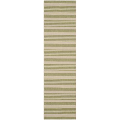Sophina Beige/Sweet Pea Striped Contemporary Indoor/Outdoor Area Rug Rug Size: Runner 23 x 8