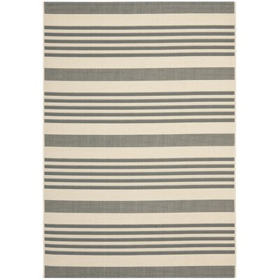 Eres Grey/Bone Indoor/Outdoor Area Rug Rug Size: 53 x 77