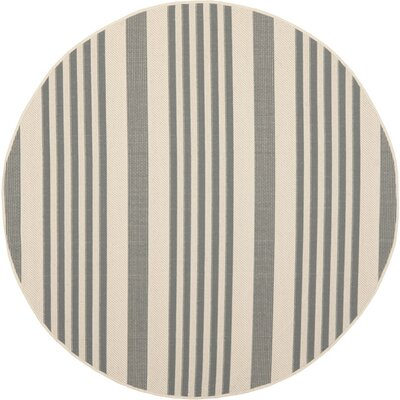 Sophina Gray/Beige Indoor/Outdoor Area Rug Rug Size: Round 53