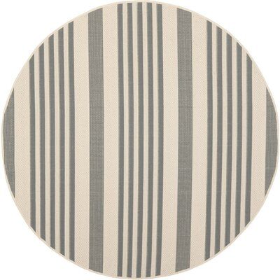 Sophina Grey/Bone Indoor/Outdoor Area Rug Rug Size: Round 4