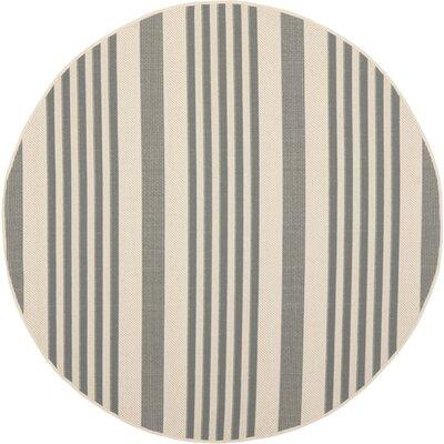 Eres Grey/Bone Indoor/Outdoor Area Rug Rug Size: Round 67
