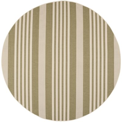 Sophina Green/Beige Indoor/Outdoor Area Rug Rug Size: Round 710