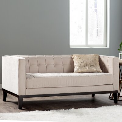 Verdi Tufted Chesterfield Loveseat Upholstery: Cream