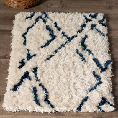 Manzer Ivory/Cobalt Area Rug Rug Size: Rectangle 5 x 8