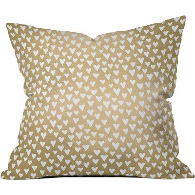 Benevides Little Hearts on Gold Outdoor Throw Pillow Size: 20 x 20