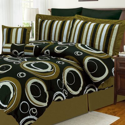Mayne 8 Piece King Bed in a Bag Set Size: King, Color: Green