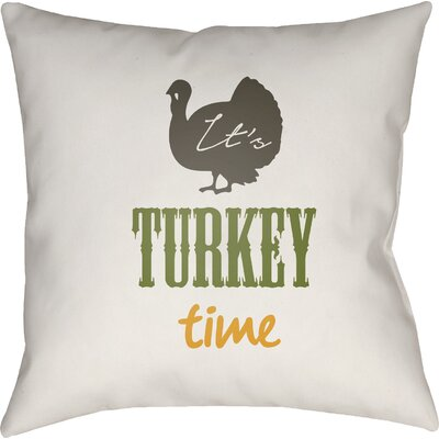Turkey Indoor/Outdoor Throw Pillow Size: 18 H x 18 W x 4 D, Color: White/Brown/Green/Orange
