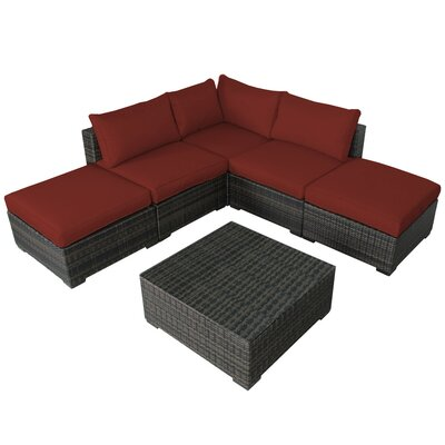 Lara 6 Piece Deep Seating Group with Cushions Fabric: Ribbed Brick