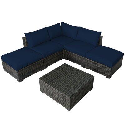 Lara 6 Piece Deep Seating Group with Cushions Fabric: Ribbed Navy