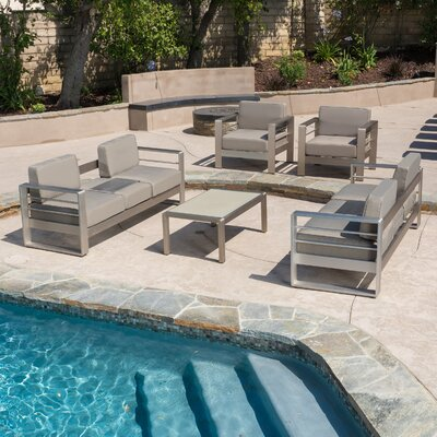 Cressey Aluminum Outdoor 5 Piece Deep Seating Group