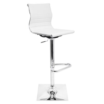 Swihart Adjustable Height Swivel Bar Stool Upholstery: White