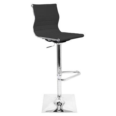 Swihart Adjustable Height Swivel Bar Stool Upholstery: Black