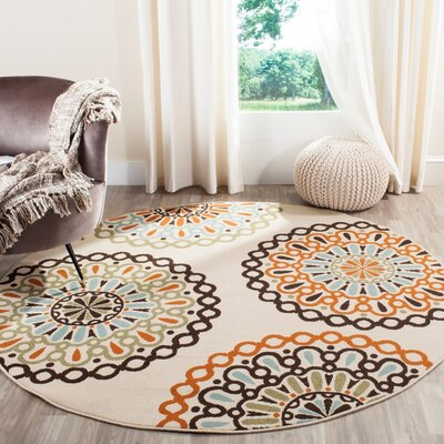 Palma Ivory/Brown Indoor/Outdoor Area Rug Rug Size: 53 x 77