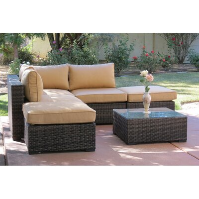 Lara 6 Piece Deep Seating Group with Cushions Fabric: Gold