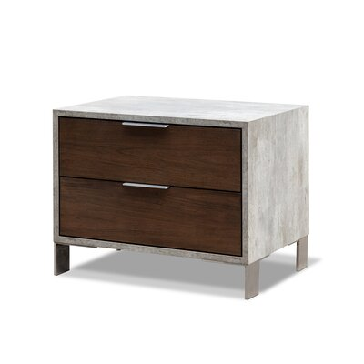 Lipscomb 2 Drawer Nightstand Finish: Dark Walnut / Gray