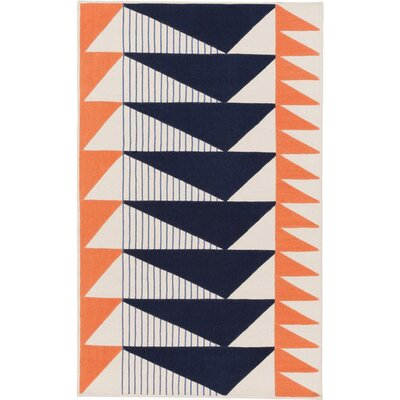 Haveman Hand-Woven Navy/Coral Area Rug Rug Size: Rectangle 4 x 6
