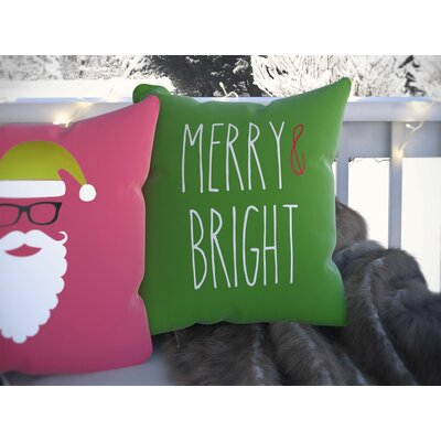 Merry & Bright Indoor/Outdoor Throw Pillow Size: 20 H x 20 W x 4 D, Color: Green / White