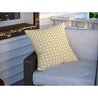 Benevides Little Hearts on Gold Outdoor Throw Pillow Size: 16