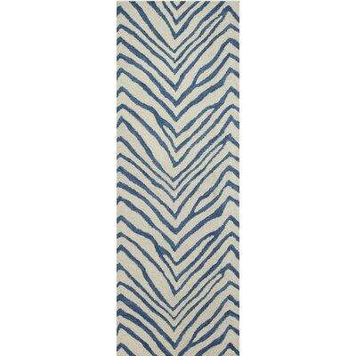 Marasco Hand-Tufted Ivory/Blue Area Rug Rug Size: Runner 26 x 8