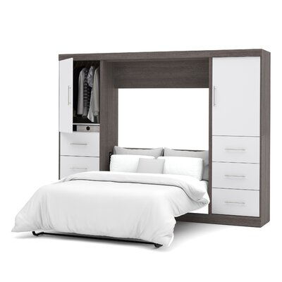 Truett Full/Double Murphy Bed Color: Bark Gray & White