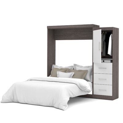 Truett Queen Murphy Bed Upholstery: Bark Grey & White