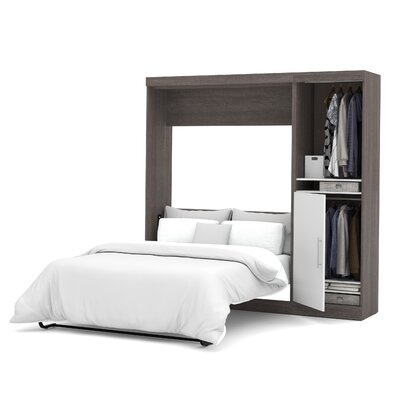 Truett Full/Double Murphy Bed Upholstery: Bark Grey & White