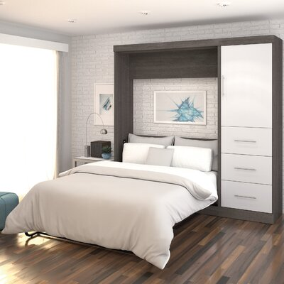 Truett Full/Double Murphy Bed Upholstery: Bark Grey and White