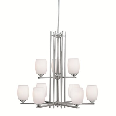 Esmont 9-Light Shaded Chandelier Finish: Brushed Nickel