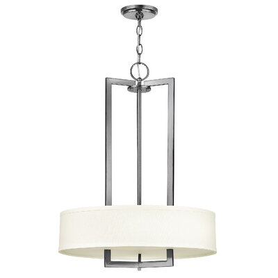 Fouche 3-Light Drum Pendant Size: 26.5 H x 20 W x 20 D, Finish: Antique Nickel, Bulb Type: FSI