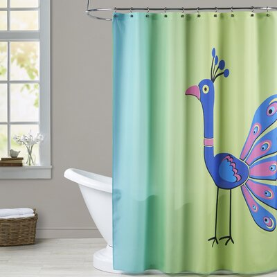 Ashlee Rae Peacock Print Shower Curtain