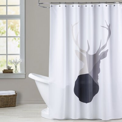 Melinda Wood Deer Head Shower Curtain