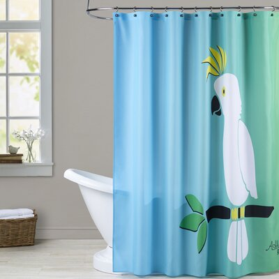 Ashlee Rae Cockatoo on Sunset Print Shower Curtain Color: Blue / Green