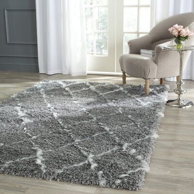 Armstead Geometric Contemporary Gray/Ivory Area Rug Rug Size: Rectangle 33 x 53