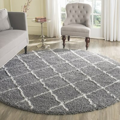 Armstead Geometric Contemporary Gray/Ivory Area Rug Rug Size: Round 7