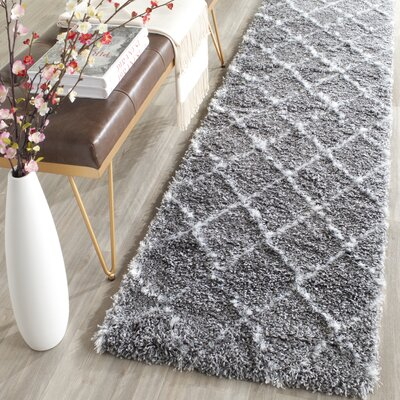 Armstead Grey/Ivory Geometric Contemporary Rug Rug Size: Runner 2'3