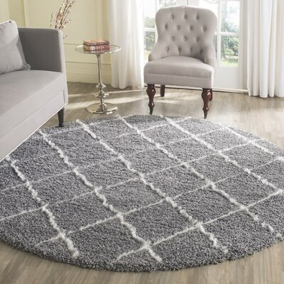 Armstead Grey/Ivory Geometric Contemporary Rug Rug Size: Round 7'