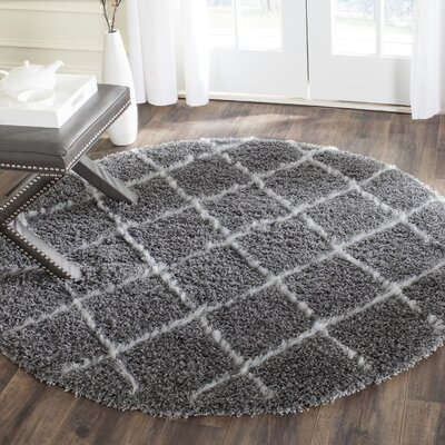Armstead Grey/Ivory Geometric Contemporary Rug Rug Size: Round 5'