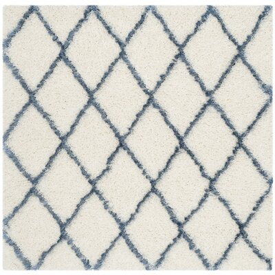 Armstead Ivory/Blue Area Rug Rug Size: Square 5