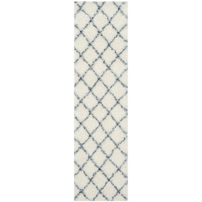 Armstead Ivory & Blue Geometric Contemporary Area Rug Rug Size: Runner 2'3