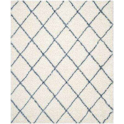 Armstead Ivory & Blue Geometric Contemporary Area Rug Rug Size: 4' x 6'